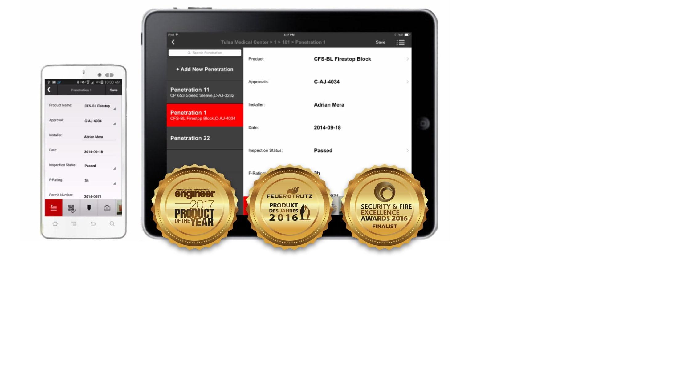 iPhone and iPad with software and gold seals of awards