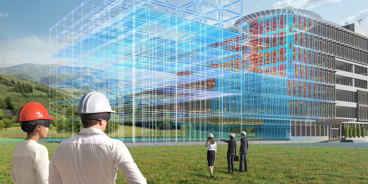 Virtual twin of a building before construction, showing on-site using augmented reality