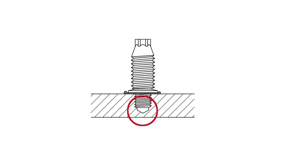 Diagram of a cross-section of steel showing blunt tip screw fastening