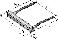 Front-of-slab HAC rebar channels Cast-in anchor channels in standard sizes and lengths for front-of-slab applications